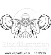 Vector Illustration of Warrior Lady Weightlifter Lifting Barbell by AtStockIllustration