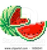 Vector Illustration of Watermelon Pixel Art 8 Bit Video Game Fruit Icon by AtStockIllustration