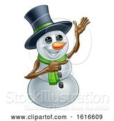 Vector Illustration of Waving Snowman Wearing a Top Hat by AtStockIllustration