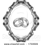 Vector Illustration of Wedding Rings Intertwined Vintage Woodcut Design by AtStockIllustration