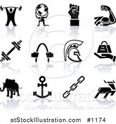 Vector Illustration of Weigh Tlifter, Man Holding Globe, Muscles, Weights, Helmet, Elephant, Anchor, Deer, and Links by AtStockIllustration