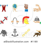 Vector Illustration of Weightlifter, Man Carrying a Globe, Fist, Muscles, Weights, Helmet, Elephant, Anchor, Links and Deer, over a White Background by AtStockIllustration
