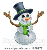 Vector Illustration of Welcoming Christmas Snowman Wearing a Green Scarf and a Top Hat by AtStockIllustration