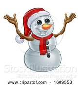 Vector Illustration of Welcoming Christmas Snowman Wearing a Scarf and a Santa Hat by AtStockIllustration