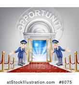 Vector Illustration of Welcoming Door Men at an Entry with a Red Carpet and Posts Under Opportunity Text by AtStockIllustration