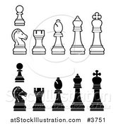 Vector Illustration of White and Black Chess Pieces by AtStockIllustration
