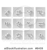 Vector Illustration of White Astrology Horoscope Symbol Icons on Flat Design Gray Tiles with Shadows by AtStockIllustration