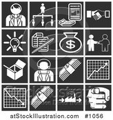 Vector Illustration of White Business Icons over a Black Background, Including a Businessman, Manager, Invoice, Handshake, Light Bulb, Documents, Money Bag, Box, Businesswoman, Cash, Chart, Graph, and Pointing Finger by AtStockIllustration