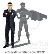 Vector Illustration of White Businessman Standing with Folded Arms and a Super Hero Shadow by AtStockIllustration