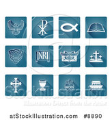 Vector Illustration of White Christian Icons on Blue Tiles by AtStockIllustration