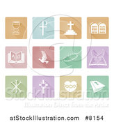 Vector Illustration of White Christian Icons on Colorful Pastel Square Tiles by AtStockIllustration