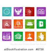 Vector Illustration of White Christian Icons on Colorful Square Tiles by AtStockIllustration