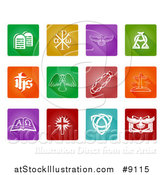 Vector Illustration of White Christian Icons on Colorful Square Tiles with Rounded Corners by AtStockIllustration