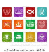Vector Illustration of White Christian Icons on Colorful Squares by AtStockIllustration