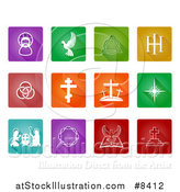 Vector Illustration of White Christian Icons on Colorful Tiles by AtStockIllustration