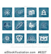Vector Illustration of White Christian Icons on Gradient Blue Square Tiles with Rounded Corners by AtStockIllustration