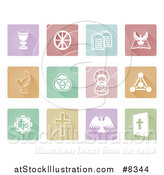 Vector Illustration of White Christian Icons on Pastel Colorful Tiles with Shadows by AtStockIllustration