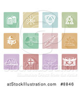 Vector Illustration of White Christian Icons on Pastel Tiles by AtStockIllustration