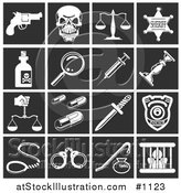 Vector Illustration of White Crime Icons over a Black Background, Including a Pistil, Skull, Scales, Sheriff Badge, Poison, Magnifying Glass, Needle, Candlestick, Pills, Knife, Police Badge, Handcuffs, and Prisoner by AtStockIllustration