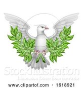 Vector Illustration of White Dove Peace with Olive Branch by AtStockIllustration
