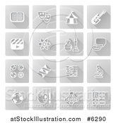 Vector Illustration of White Educational Subject Icons on Gray Squares by AtStockIllustration