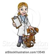 Vector Illustration of White Female Veterinarian Holding a Clipboard and Standing with a Cat and Dog by AtStockIllustration