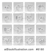 Vector Illustration of White Food Icons on Gray Squares by AtStockIllustration