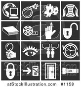 Vector Illustration of White Icons over a Black Background, Including a Computer over a Globe, Bomb, Cogs, Letter, Book, Film Reel, Reminder on a Finger, Padlock, Magnifying Glass, Eye, Messenger, Clock, Doorway, and Flashlight by AtStockIllustration