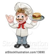 Vector Illustration of White Male Chef Gesturing Ok and Holding a Cheeseburger on a Tray by AtStockIllustration