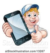 Vector Illustration of White Male Handyman Giving a Thumb up and Holding out a Smart Phone by AtStockIllustration