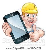 Vector Illustration of White Male Handyman Holding out a Smart Phone and Thumb up over a Sign by AtStockIllustration