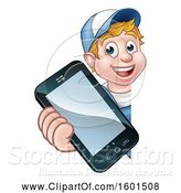 Vector Illustration of White Male Handyman Holding out a Smart Phone Around a Sign by AtStockIllustration