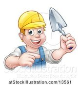 Vector Illustration of White Male Mason Worker Holding a Trowel and Pointing by AtStockIllustration