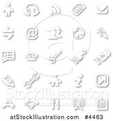 Vector Illustration of White Minimalist Icons with Shadows by AtStockIllustration