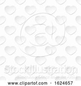 Vector Illustration of White Paper Heart Seamless Background Pattern by AtStockIllustration
