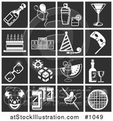Vector Illustration of White Party Related Icons over a Square Black Background by AtStockIllustration