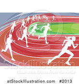 Vector Illustration of White Silhouetted Runners Racing on a Track by AtStockIllustration