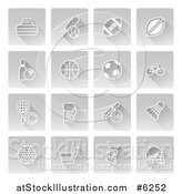 Vector Illustration of White Sports Icons on Gray Square Tiles by AtStockIllustration