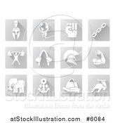 Vector Illustration of White Strength Icons on Gray Tiles by AtStockIllustration