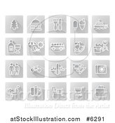 Vector Illustration of White Tourist Icons on Gray Squares by AtStockIllustration