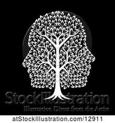 Vector Illustration of White Tree with Profiled Faces in the Canopy, on Black by AtStockIllustration