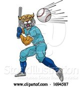 Vector Illustration of Wildcat Baseball Player Mascot Swinging Bat by AtStockIllustration