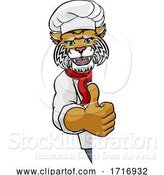 Vector Illustration of Wildcat Chef Mascot Sign Character by AtStockIllustration