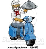 Vector Illustration of Wildcat Chef Scooter Mascot Character by AtStockIllustration