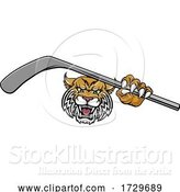 Vector Illustration of Wildcat Ice Hockey Player Animal Sports Mascot by AtStockIllustration