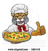 Vector Illustration of Wildcat Pizza Chef Restaurant Mascot Sign by AtStockIllustration
