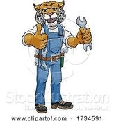 Vector Illustration of Wildcat Plumber or Mechanic Holding Spanner by AtStockIllustration