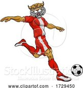 Vector Illustration of Wildcat Soccer Football Player Sports Mascot by AtStockIllustration