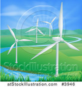Vector Illustration of Wind Farm Turbines in a Hilly Landscape with a Spring and Sunshine by AtStockIllustration
