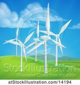 Vector Illustration of Wind Farm with Turbines in a Hilly Landscape by AtStockIllustration